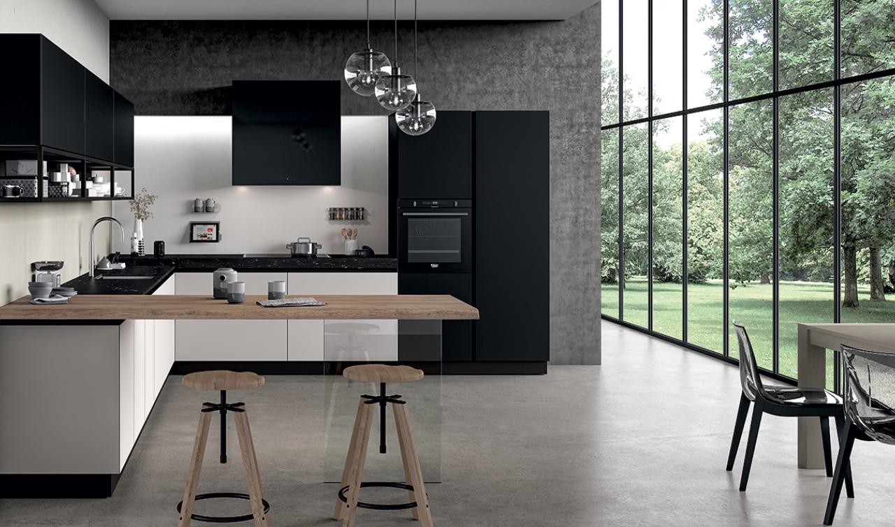 Cucina in vetro laccato bianco e nero piano snack in legno