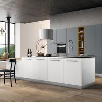 Cucina con isola laccata opaca bianca e grigia - Mobili, arredamento ...