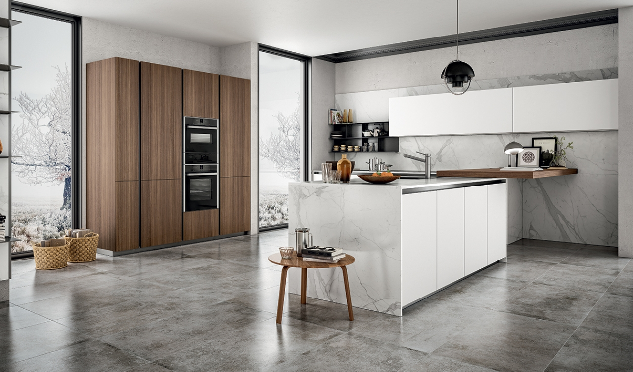 Cucina laminato finiture opaco bianco e legno - Mobili ...