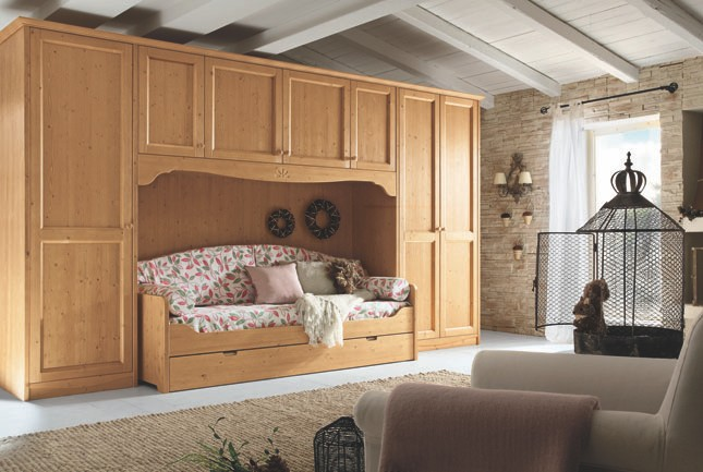 Armadio a ponte con divano letto arredamento classico - Divano letto bambini ...