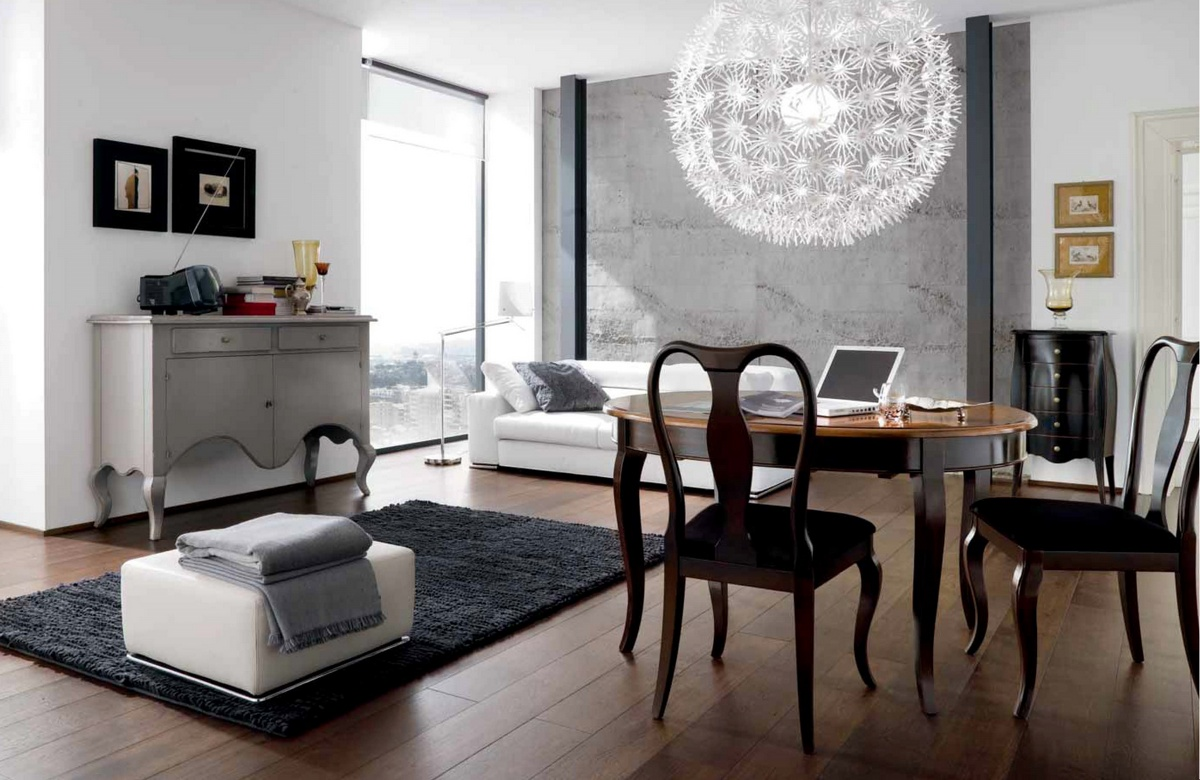 Lampadario moderno su tavolo moderno for Foto arredamento casa moderno