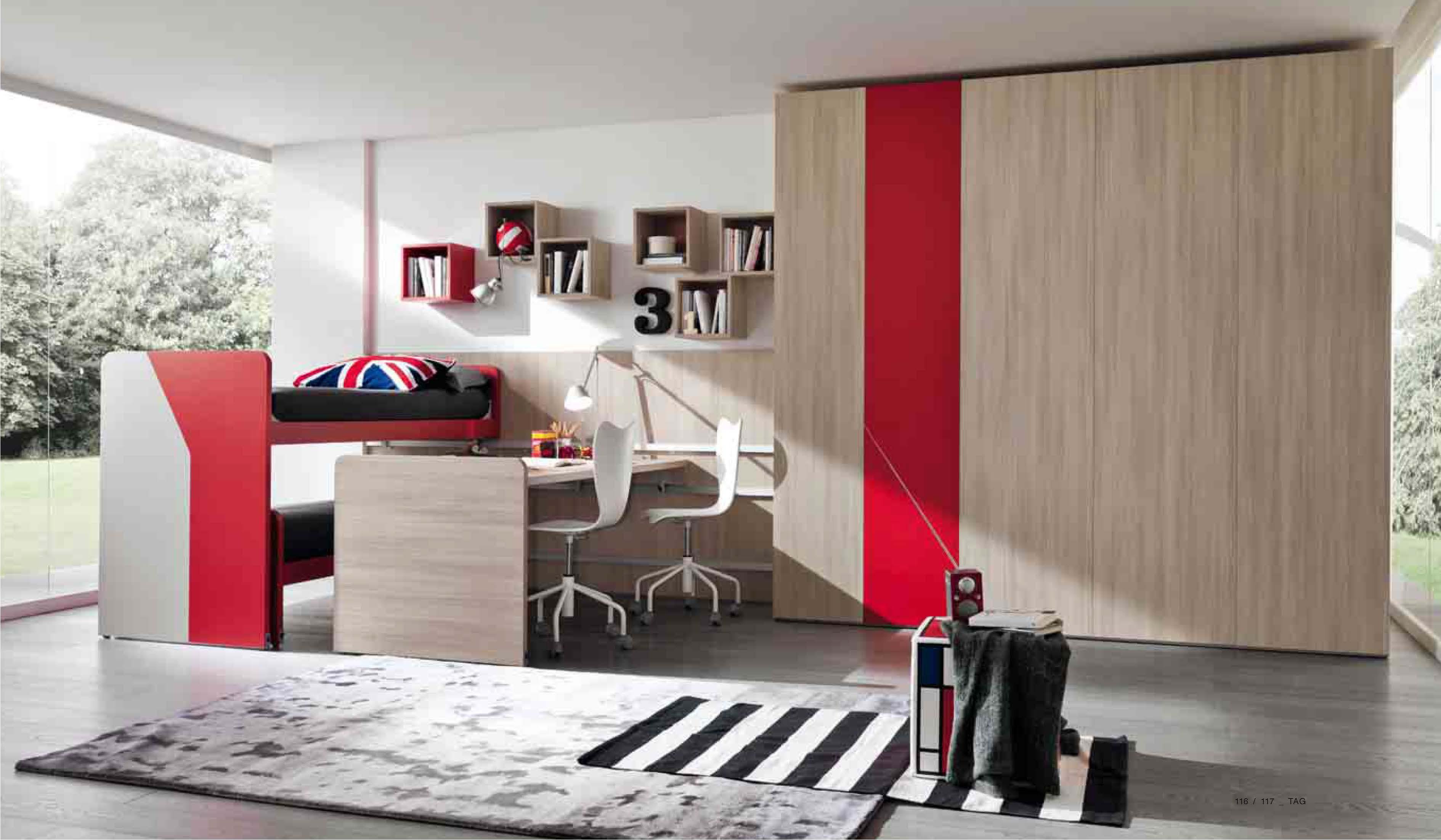 Cameretta in legno olmo rosso arredamento moderno for Arredamento camerette