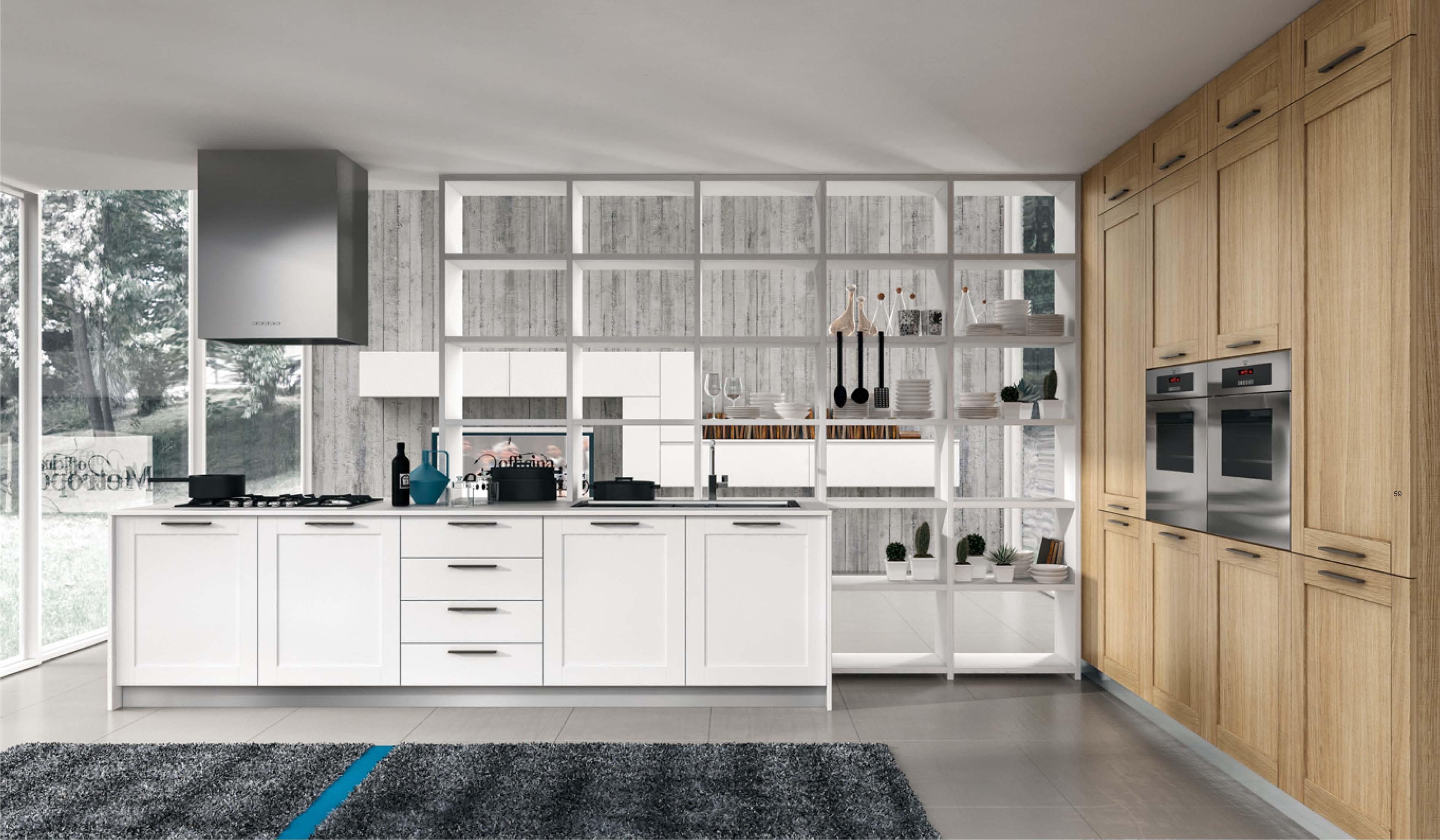 Cucina in rovere seghettato - Arredamento moderno