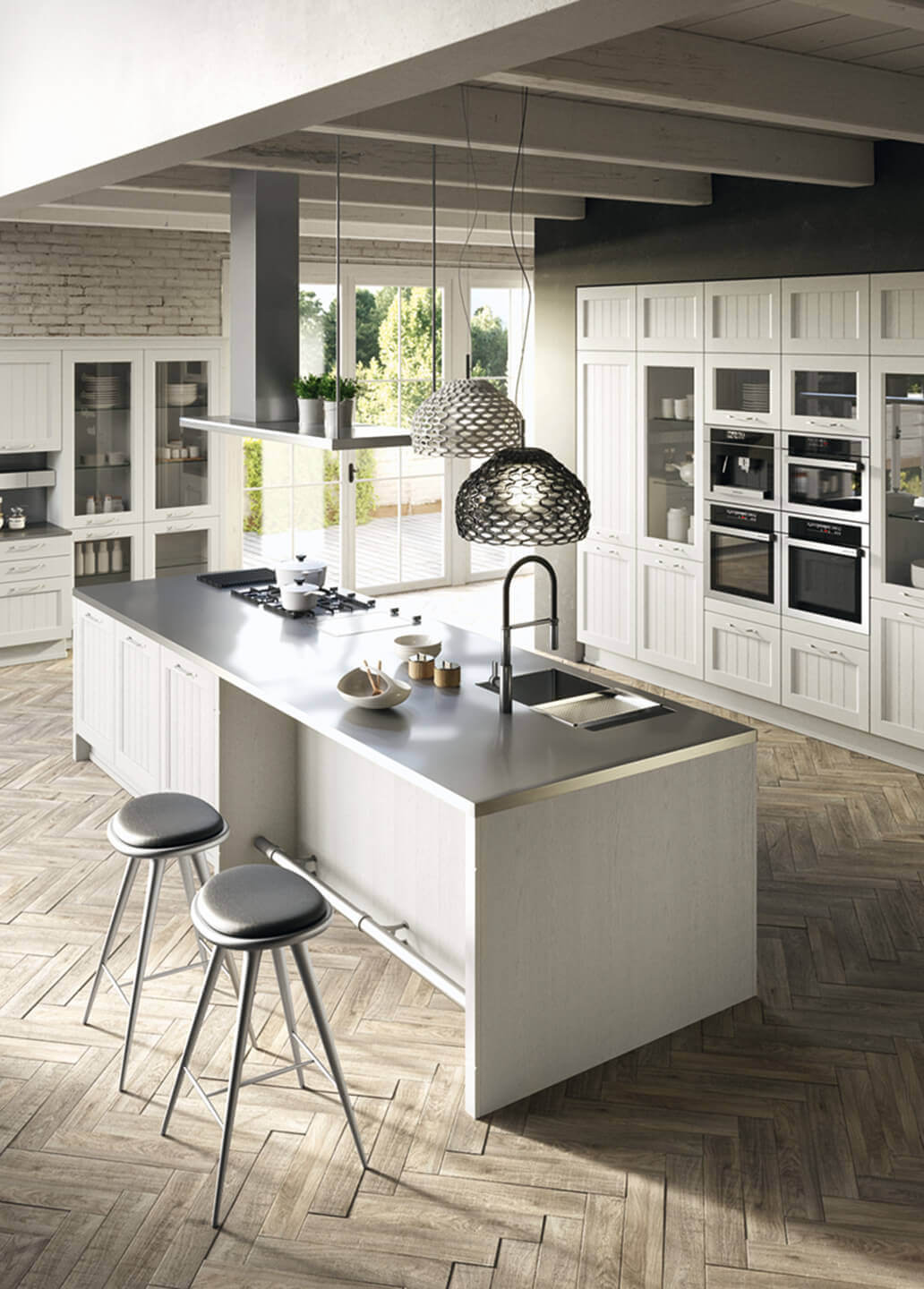 village kitchen design cucina country in frassino bianco anta dogata mobili 3152