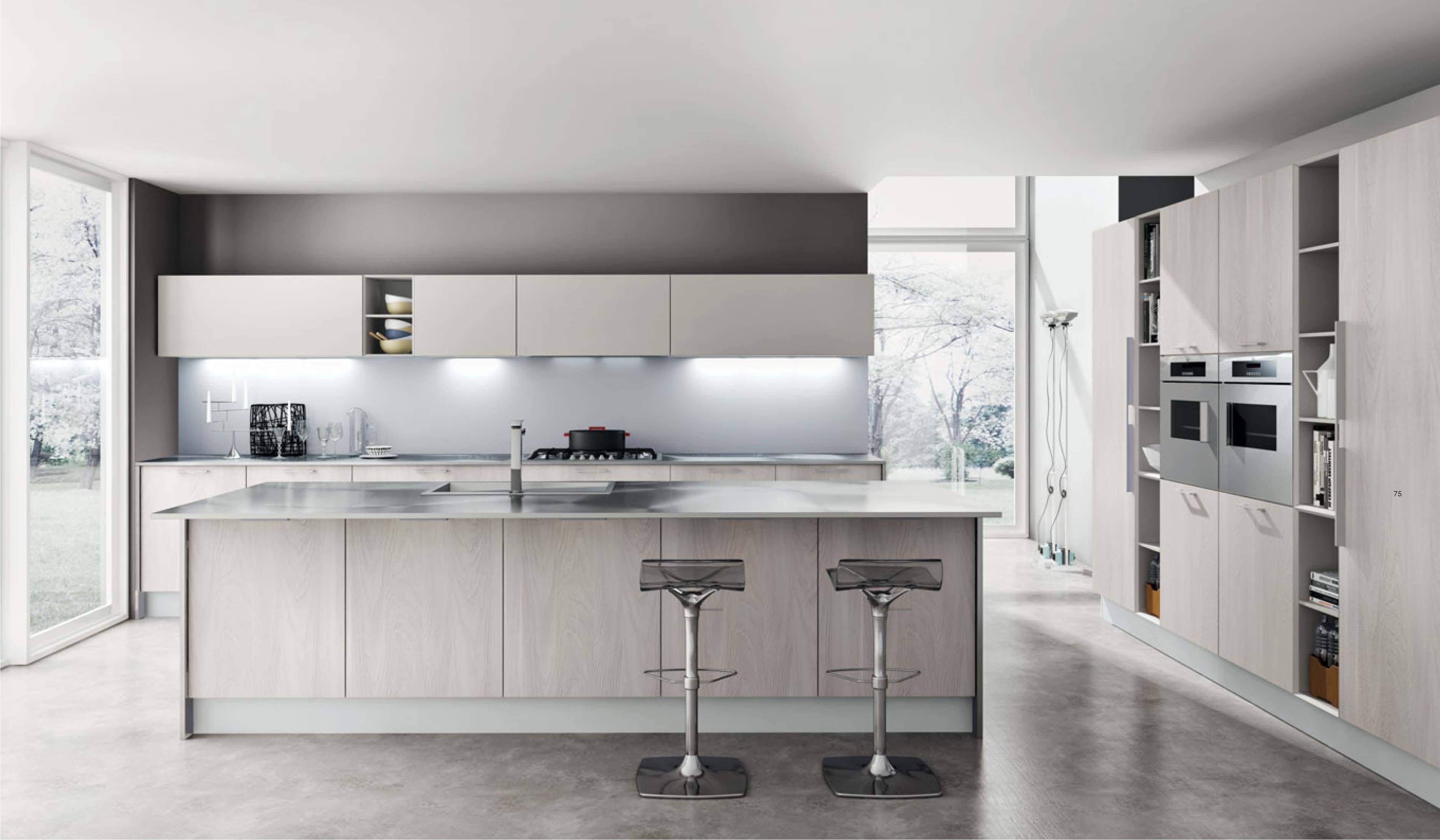 Cucina in laminato fiammato seta - Arredamento moderno